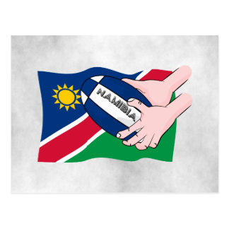 Namibia Flag Rugby Ball Cartoon Hands Postcard
