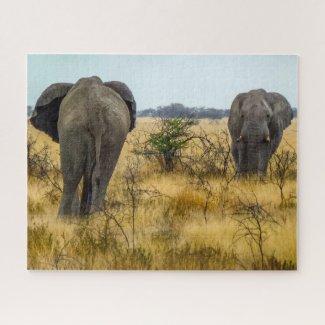 Namibia Jigsaw Puzzle - wild elephants in grass
