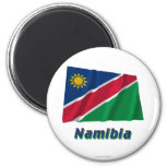 Namibia Waving Flag with Name 2 Inch Round Magnet