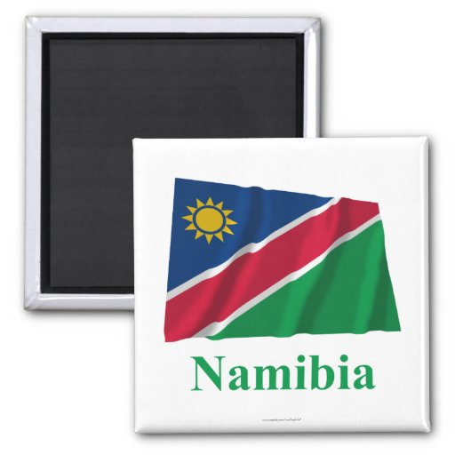 Namibia Waving Flag with Name 2 Inch Square Magnet
