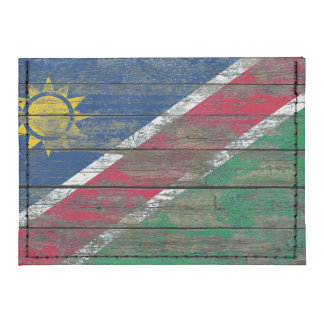 Namibian Flag on Rough Wood Boards Effect Card Wallet