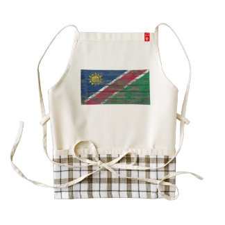 Namibian Flag on Rough Wood Boards Effect Zazzle HEART Apron