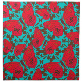 Namkins de la mariposa en rojo y trullo servilleta imprimida