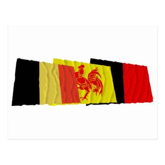 Namur Waving Flags Trio Postcard
