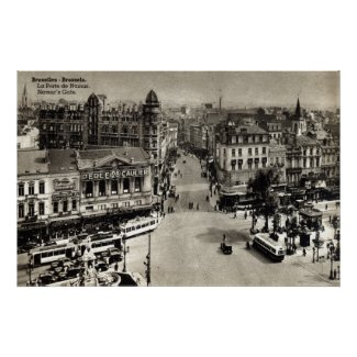 Namur's Gate Brussels Belgium Vintage 1932 Poster