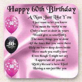 Nan Poem  -  60th Birthday Beverage Coaster