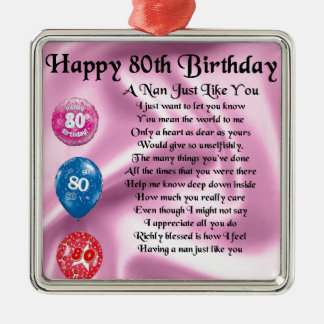 Nan Poem  -  80th Birthday Metal Ornament