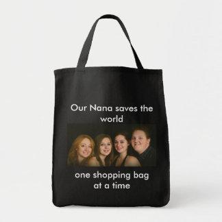 Nana ahorra el bolso de compras del mundo bolsa tela para la compra