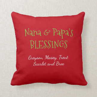 Nana and Papa pillow with grandkids names