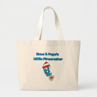 Nana and Papa's Little Firecracker Tshirts Large Tote Bag