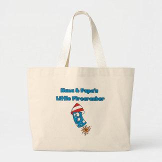 Nana and Papa's Little Firecracker Tshirts Large Tote Bag