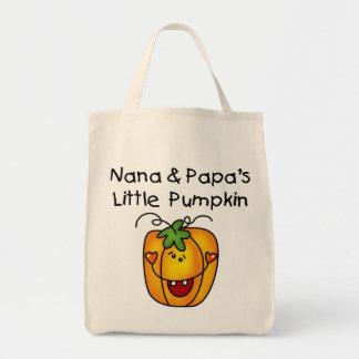 Nana and Papa's Little Pumpkin T-shirts Bags