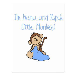 Nana and Papa's Monkey - Blue Tshirts and Gifts Postcard