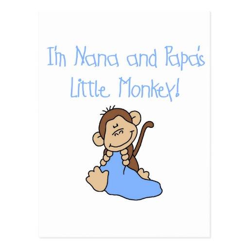 Nana and Papa's Monkey - Blue Tshirts and Gifts Post Cards