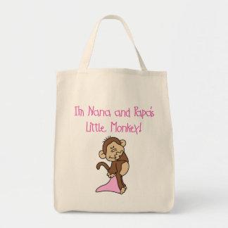 Nana and Papa's Monkey - Pink Tshirts and Gifts Tote Bag