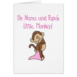 Nana and Papa's Monkey - Pink Tshirts and Gifts Card