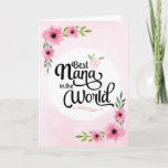 "Nana Birthday - Best Nana in the World w/Flowers Card<br><div class=""desc"">Wish your Nana happy birthday with this unique brush script typography design featuring the message, ""To the Best Nana in the World."" Design is accented with beautiful pink watercolor flowers on blurred pink background. Inside has this placeholder text but can be customized with your message: There is no other Nana...</div>"