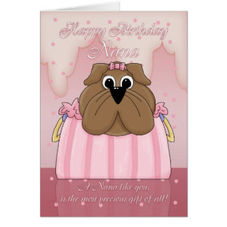Nana Birthday Card - Cute Bulldog In A Purse - Pur