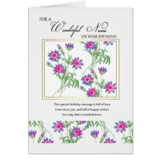 nana birthday card - floral birthday card for nana