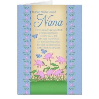 nana birthday card flowers and butterflies