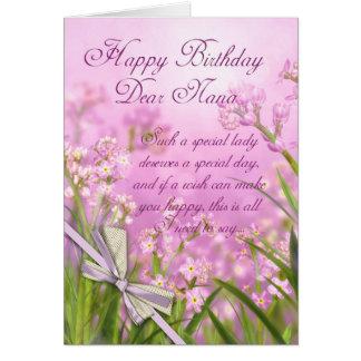 Nana Birthday Card - Pink Feminine Floral With Ver