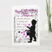 nana birthday card with little boy silhouette