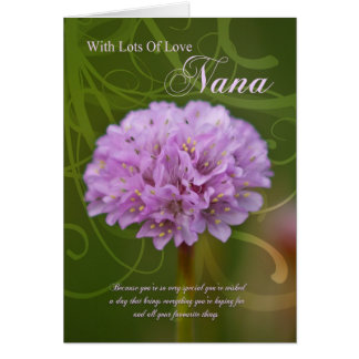 Nana birthday card with pink pom pom flower
