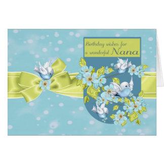 Nana, Birthday Greeting Card With Pretty Birds