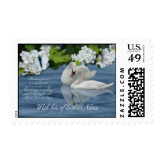 Nana Birthday Stamp With Swans And Flowers