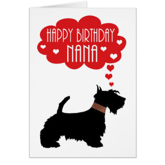 Nana Birthday With Silhouette Scottish Terrier Card