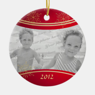 Nana Christmas Photo Frame Double-Sided Ceramic Round Christmas Ornament