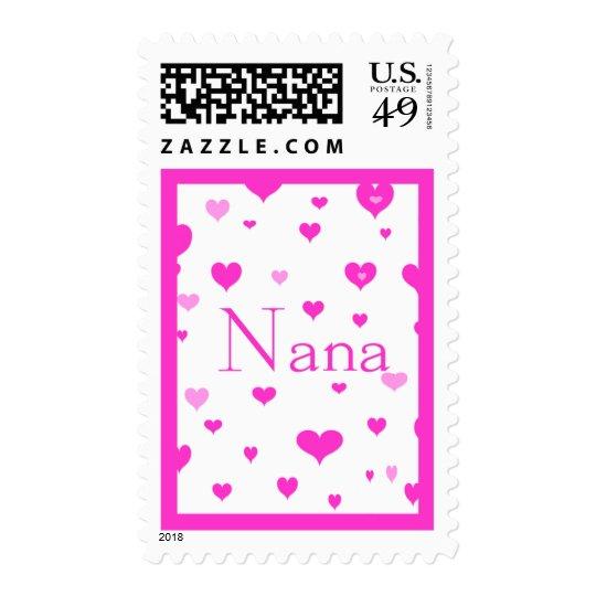 Nana con los corazones rosados estampillas