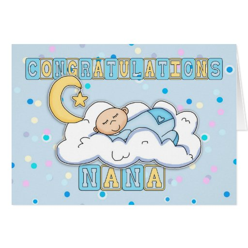 Nana Congratulations New Baby Boy Greeting Card