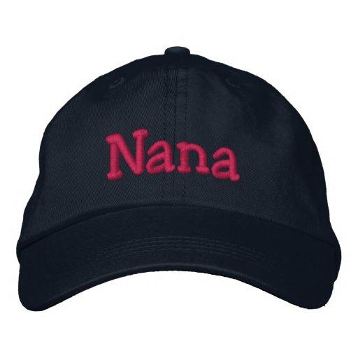 Nana Embroidered Baseball Cap Navy Hot Pink