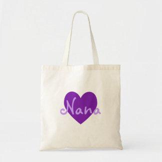 Nana en púrpura bolsa tela barata