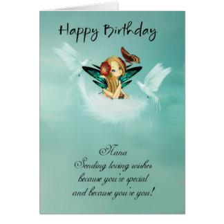 Nana Fairy Birthday Card With Doves