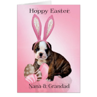 Nana & Grandad Cute Easter Bulldog Puppy With Eggs Card