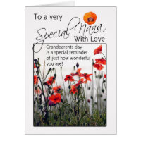 Nana, Grandparents Day Card - Wild Poppies