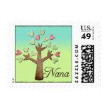 nana heart tree blue green gradient postage