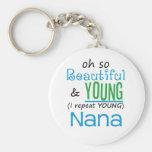 Nana hermosa y joven llavero personalizado