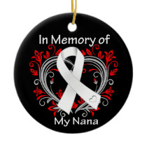 Nana - In Memory Lung Cancer Heart Ceramic Ornament