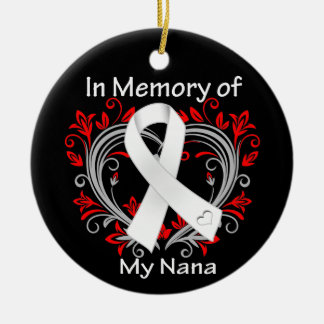 Nana - In Memory Lung Cancer Heart Double-Sided Ceramic Round Christmas Ornament