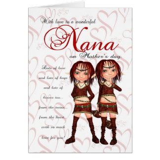 Nana Mother's Day Card From Twins - Two Cute Elves