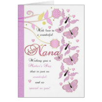 Nana Mother's Day Card With Flowers And Butterflie