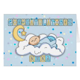 Nana New Baby Boy Congratulations Greeting Card