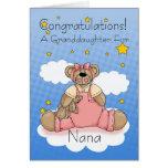 Nana New Baby Girl Congratulations Greeting Card