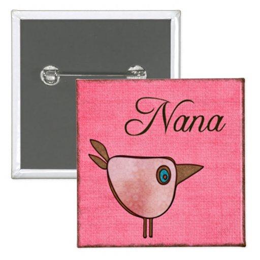 nana pink birdie 2 inch square button