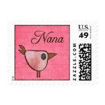 nana pink birdie postage stamp