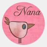 nana pink birdie round sticker