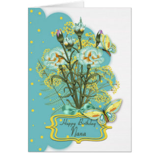 nana, summer color birthday card with carnations